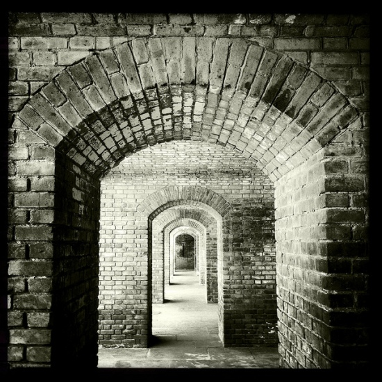 Fort Jefferson Arches in B&W