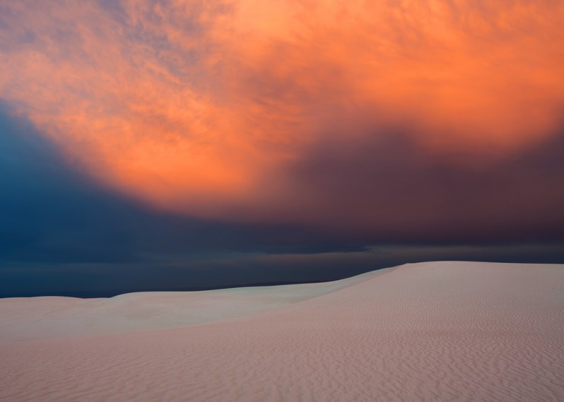 Sunset Clouds Over White Sands