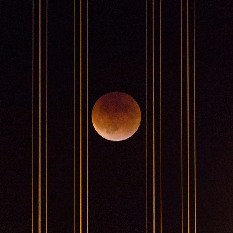 Super Bloodmoon Eclipse Behind Bay Bridge Cables