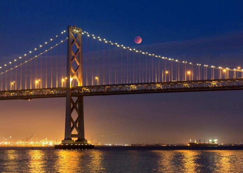 Super Bloodmoon Eclipse Over the Bay Bridge