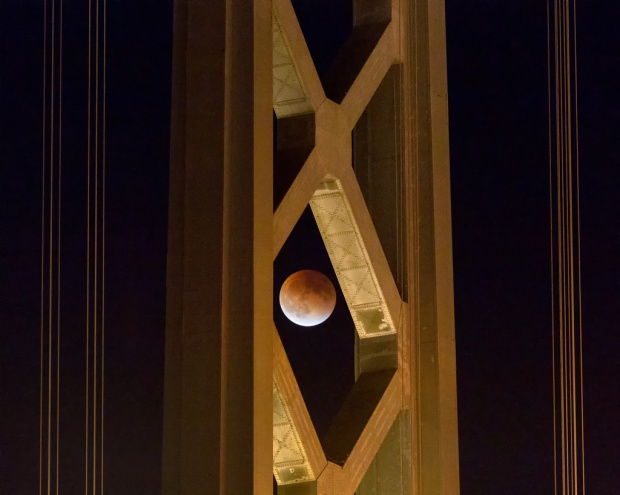 Super Bloodmoon Eclipse through Bay Bridge Tower