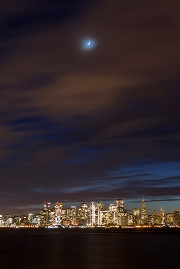 Crescent Moon Over SF Skyline