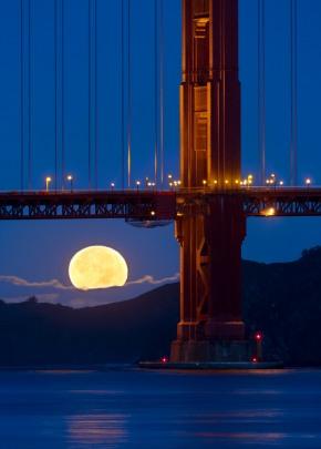 Golden Gate Bridge November Moonset