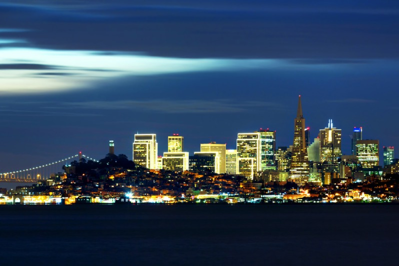 Blue Sunrise Over SF Skyline