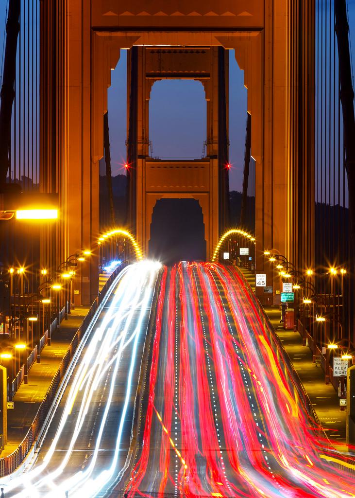 December Golden Gate Bridge Morning Traffic