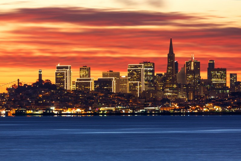 December SF Skyline Dawn from Sausalito