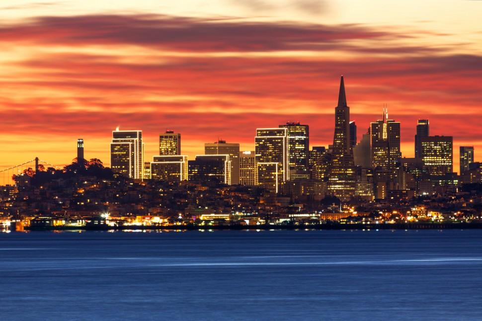 December SF Skyline Dawn from Sausalito