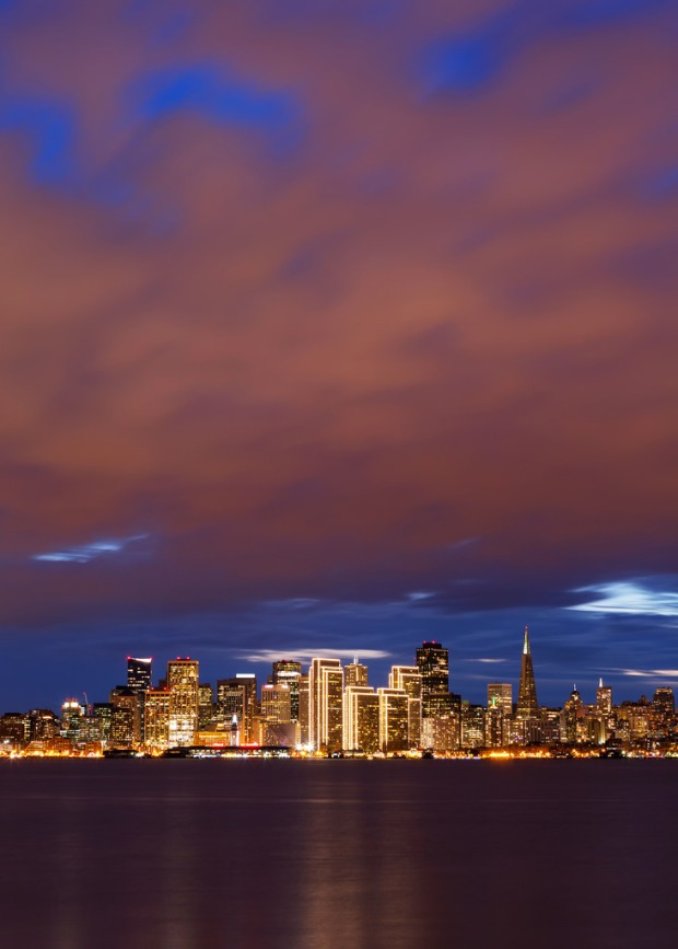 Evening Clouds Over SF Skyline Portrait