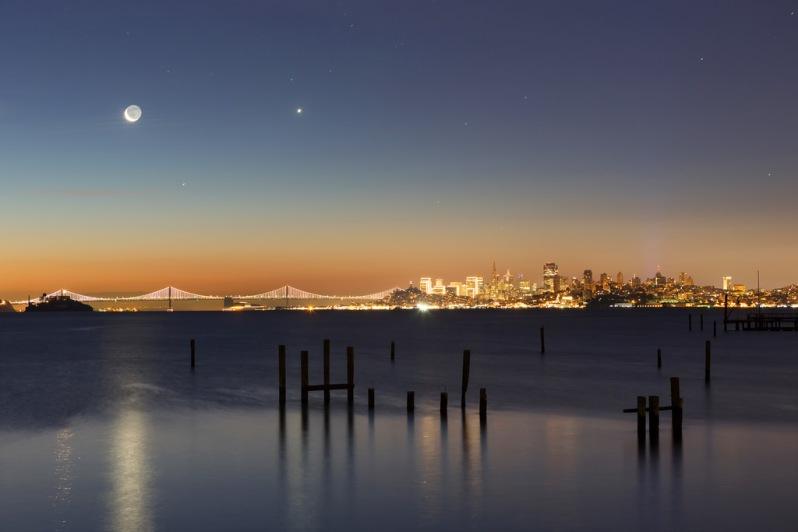Moon and Stars Over San Francisco