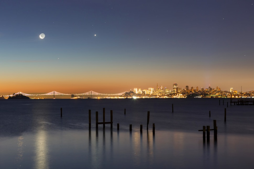 Moon and Stars Over San Francisco