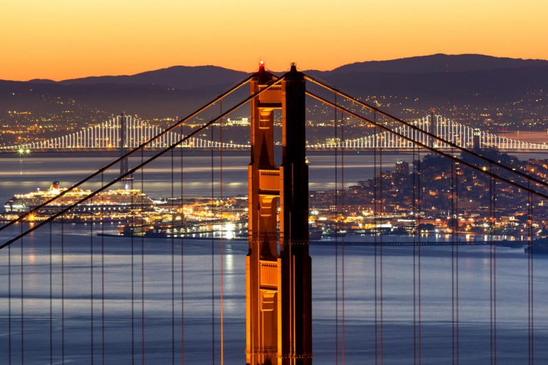 North Tower and Lit Up Bay Bridge