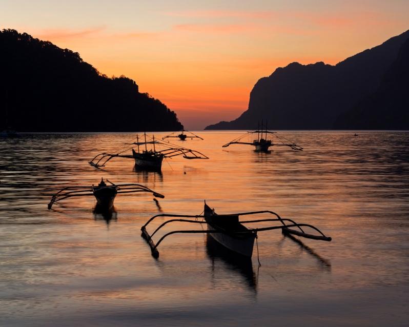 El Nido Boats at Sunset