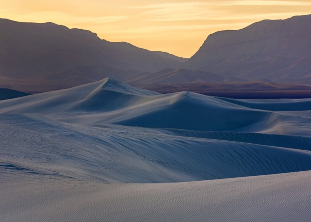 White Sands and Mountains at Dusk
