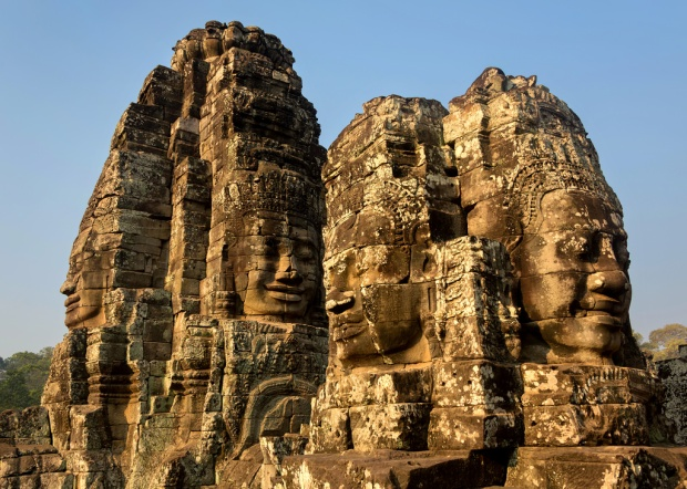 Early Light on Four Bayon Faces