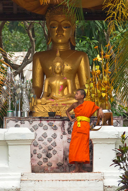 Monk and Buddha Statues