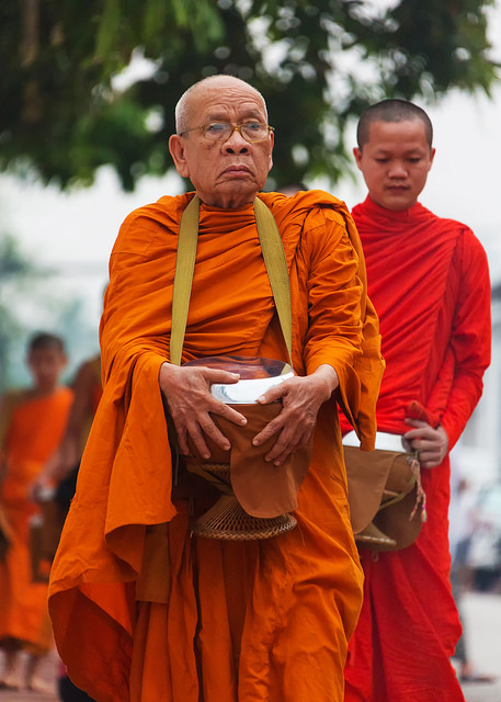 Older Monk Collecting Alms