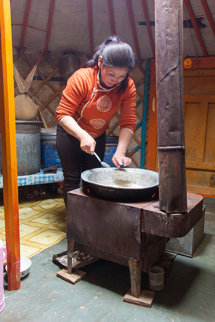 Badma Cooking on Ger Stove