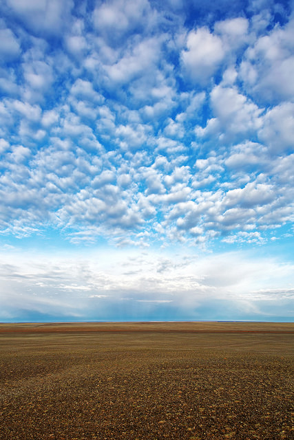 Early Light on Clouds Over the Steppe