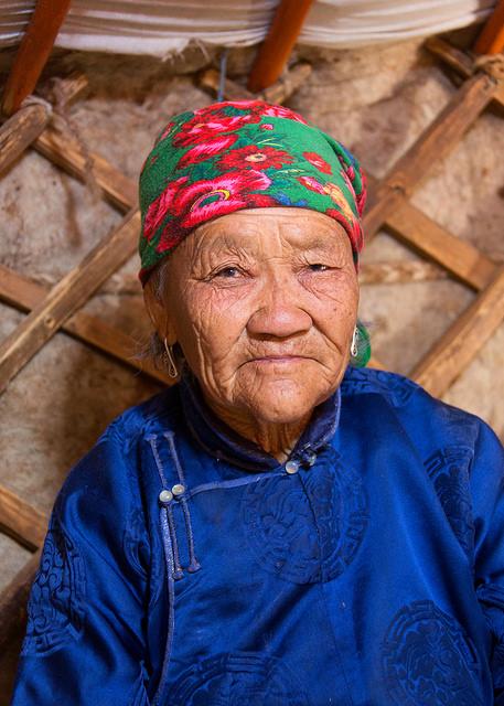 Grandmother in Ger at Khongoryn Els