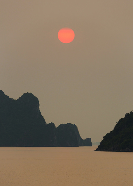 Hazy Halong Bay Sunset