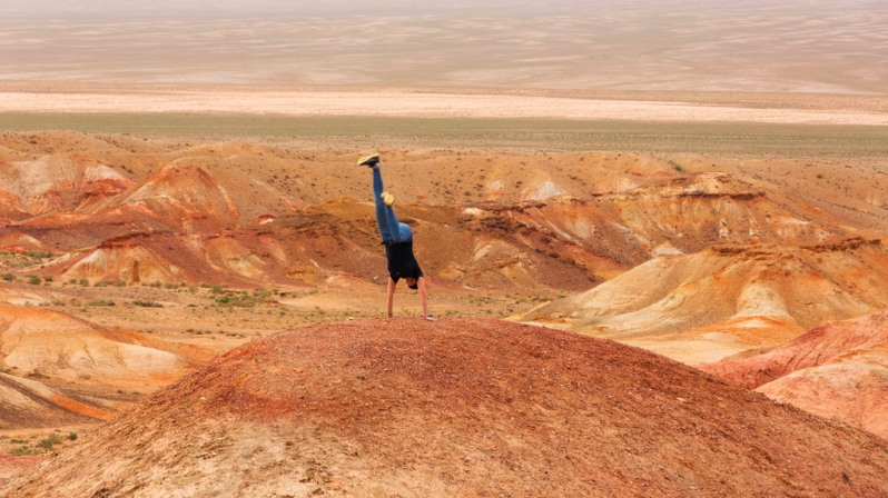 Marie Attempting a Handstand at Tsagaan Suvarga