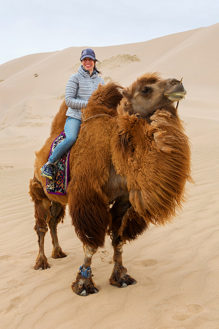 Marie on a Camel at Khongoryn Els