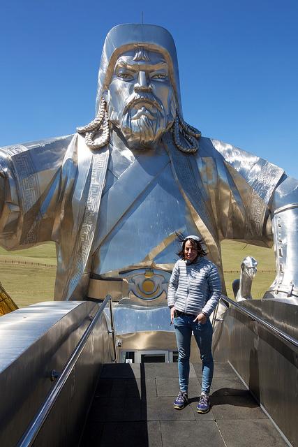 Marie On Top of Genghis Khan Statue