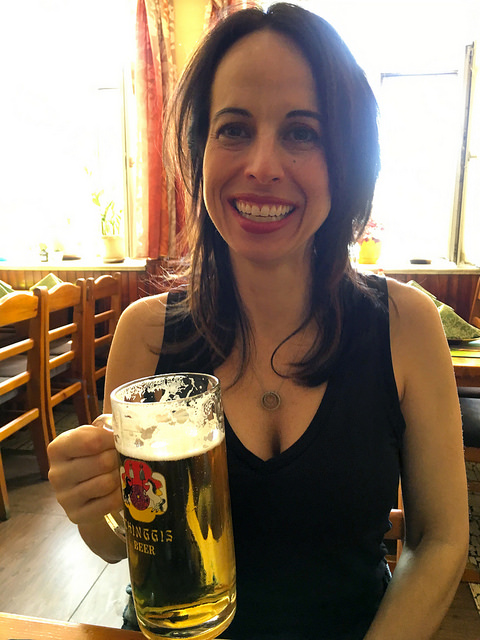 Marie with a Chinggis Beer in UB