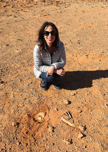 Marie with Dinosaur Bones