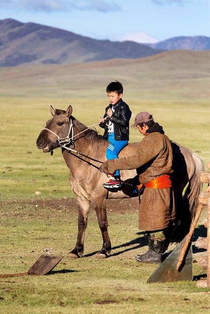 Mongolian Boy Setting Out for Morning Herding