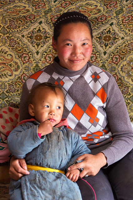 Mongolian Mom with Her Son