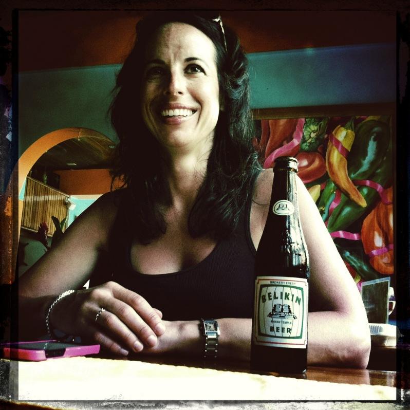 marie-drinking-belikin-beer