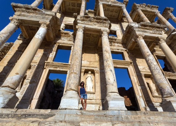 Marie in Front of the Library of Celsus