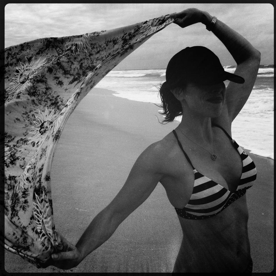 Marie on a Windy Beach in Kauai