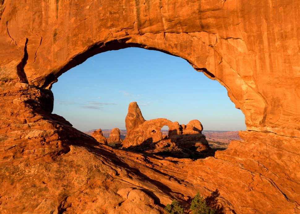 Turret Arch Through North Window at Sunrise